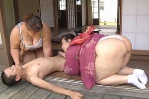藤木静子 青山ローズ 巨乳ぽっちゃり熟女の母と娘が営む民宿でおもてなし肉弾セックス!